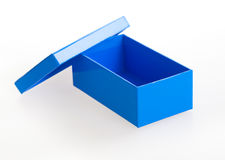 Open blue box. Blue carton box viewed from top/side Stock Image