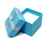 Open blue box for gifts stock photo