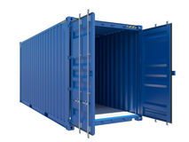 Open Blue Cargo Container. Isolated on white. 3D illustration Stock Image