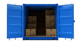 Open blue cargo freight shipping container with cardboard boxes isolated on white. 3d illustration Royalty Free Stock Photos
