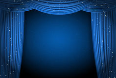 Open blue curtains background with glittering stars Royalty Free Stock Photos