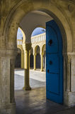 Open blue door in Tunisia Royalty Free Stock Images