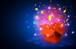 Open blue Gift Box and Confetti on blue background. Vector Illustration.  Royalty Free Stock Photo