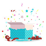 Open Blue Gift Box Illustration Holiday Collection Royalty Free Stock Photo