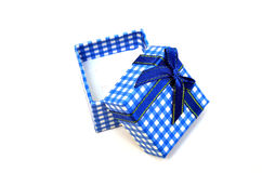 Open blue gift box on white Royalty Free Stock Image