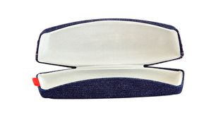 Open blue jean sunglasses case Stock Photo