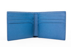 Open Blue leather wallet isolated on white background Stock Photos