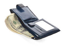 Open blue leather wallet with money. Blue wallet isolated on white background Stock Photo