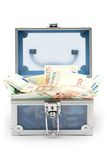 Open Blue Money Chest Royalty Free Stock Photo