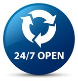 24/7 open blue round button. 24/7 open  on blue round button abstract illustration Royalty Free Stock Photography