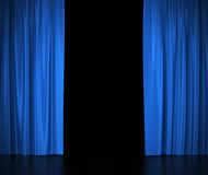 Open blue silk curtains for theater and cinema Stock Photos