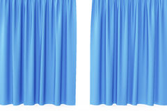 Open blue silk curtains for theater and cinema with a white background. 3d rendering Royalty Free Stock Photography