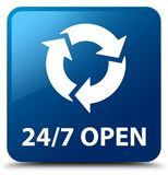 24/7 open blue square button. 24/7 open isolated on blue square button abstract illustration Stock Image