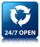 24/7 open blue square button. 24/7 open isolated on blue square button reflected abstract illustration Royalty Free Stock Photos