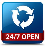 24/7 open blue square button red ribbon in middle. 24/7 open isolated on blue square button with red ribbon in middle abstract illustration Royalty Free Stock Photography