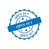Open 24-7 stamp illustration. Open 24-7 blue stamp seal illustration design Royalty Free Stock Photos