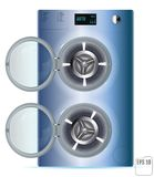 Open Blue Steel Front Load Double Washing machine isolated on wh. Ite background. 3d Stock Image