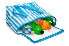 Open blue striped cooler bag with five cool refreshing drinks Stock Photos