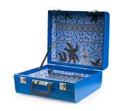 Open blue suitcase. Stock Photo