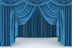 Open blue theater curtain Stock Image