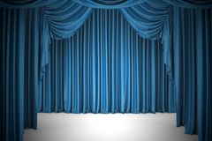 Open blue theater curtain, background. Royalty Free Stock Photography