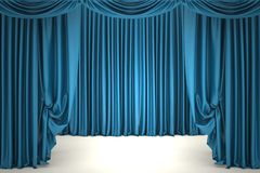 Open blue theater curtain Royalty Free Stock Images