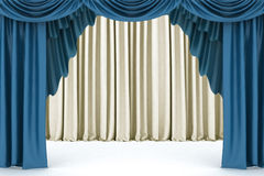 Open blue theater curtain Royalty Free Stock Photography
