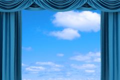 Open blue theater curtain Stock Photos