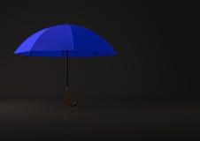 Open blue umbrella on black background. Stock Photography