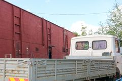 Open the body of a truck arriving for loading cargo at the warehouse of an industrial enterprise stock images