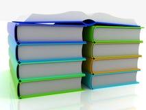 Open boek en boeken Royalty-vrije Stock Afbeeldingen