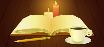 Open boek en kop van koffie Stock Afbeeldingen