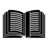 Open boek gedetailleerd met markeringspictogram, vectorillustratie, zwart teken op geïsoleerde achtergrond vector illustratie