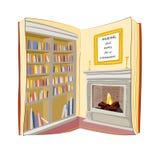 Open Boek Het lezen vindt overal huisconcept Royalty-vrije Stock Fotografie