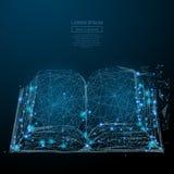 Open boek laag polyblauw stock illustratie