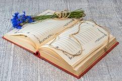 open boek met blauwe korenbloemen Royalty-vrije Stock Foto's