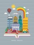 Open boek met de scène van de stadsstraat in vlak ontwerp vector illustratie