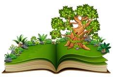 Open boek met dierenbeeldverhaal op de bomen vector illustratie