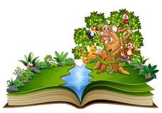 Open boek met dierenbeeldverhaal op de bomen royalty-vrije illustratie