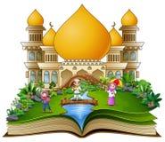 Open boek met een groep moslimmensen in de voor Islamitische moskee vector illustratie