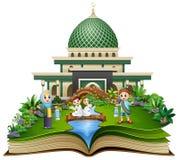 Open boek met gelukkige moslimfamiliegroet voor een moskee stock illustratie