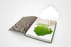 Open boek met groene aard royalty-vrije illustratie