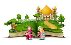 Open boek met groep gelukkige moslimvrouw en haar kinderen in de voorzijde van een moskee stock illustratie