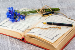 Open boek met pen en blauwe korenbloemen op de achtergrond Royalty-vrije Stock Afbeelding
