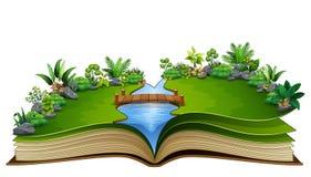 Open boek met rivier en groene installatie van aardachtergrond vector illustratie