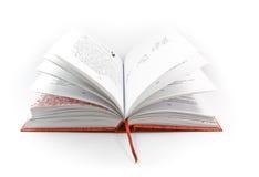Open boek met rode dekking Stock Afbeelding