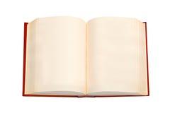 Open boek met rode dekking en lege pagina's Stock Afbeelding