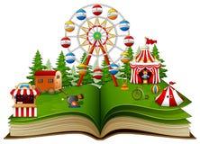 Open boek met speelplaats op een witte achtergrond royalty-vrije illustratie
