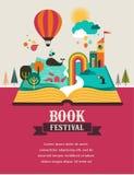 Open boek met sprookjeelementen en pictogrammen Stock Fotografie