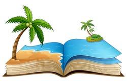 Open boek met tropisch strand op een witte achtergrond stock illustratie